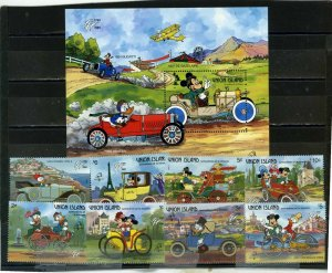 UNION ISLAND 1989 DISNEY FRENCH VEHICLES SET OF 8 STAMPS & S/S MNH