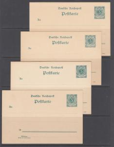 Germany Mi P30a/P36, unused. 1891-94 5pf Postal Cards, 4 different, F-VF.