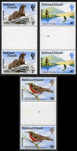 Falkland Is SG296/9 Tourism set (5p doesnt exist) in GUTTER PAIRS U/M