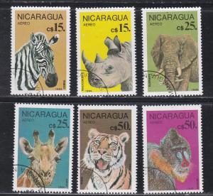 Nicaragua C1137-1142, Zoo Animals, Used CTO, 1/2 Cat.