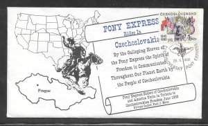Just Fun Cover #2788 Pony Express Rides In Czechoslovakia JUN/6/1990 (my4629)