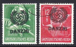 GERMANY B281-B282 DANZIG OVERPRINTS CDS F/VF SOUND