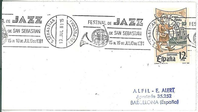 MUSIC : Jazz - SPAIN -  POSTAL HISTORY - Special postmark on COVER - 1981