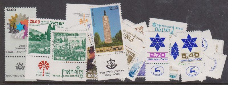 Israel - 1971-80 Lot of 23 Diff. Stamps With Tabs  inc. #583-90, 592, 649-672