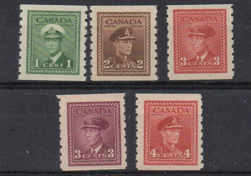 Canada Sc 263-7 1942 George VI War issue coil stamp set mint NH