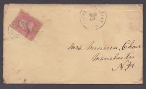 **US 19th Cent FL Cover, SC# 64b, St. Augustine, FL 3/13 CDS, Civil War Era?