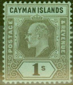 Cayman Islands 1909 1s Black-Green SG31 Fine Lightly Mtd Mint