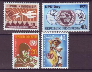 J21046 Jlstamps 1971 indonesia set & sets of 1 mh #806,807,808-9 designs