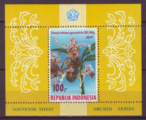 Z502 Jlstamps 1977 indonesia s/s mnh #1012a perfs orchids flowers