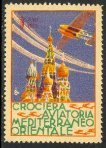 ITALY 1929 CROCIERA AVIATORIA MEDITERRANEO ORIENTALE Flight Label MLH