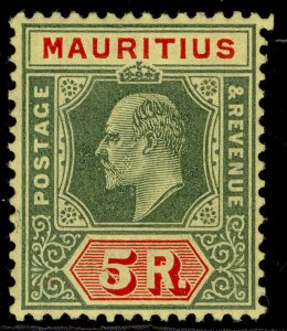 MAURITIUS EDVII SG194, 5r green & red-yellow, LH MINT. Cat £48.
