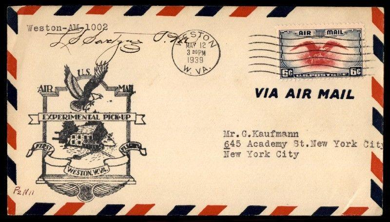 Weston VA 1939 May 12 Experimental Pick Up Flight cover Signed by PM