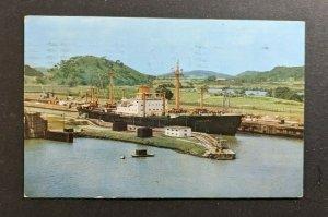 1961 Ship in Miraflor Locks Cristobal Panama Picture Postcard Cover