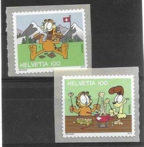 2014    SWITZERLAND  -  SG.  2033 / 2034  -  GARFIELD  - SELF ADHESIVE   -  MNH