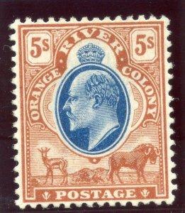 Orange Free State 1904 KEVII 5s blue & brown MLH. SG 147. Sc 69.