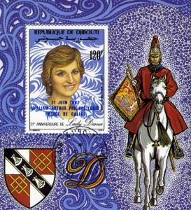 PRINCESS Diana Anniversary Blue Ovpt. s/s Perforated Fine Used