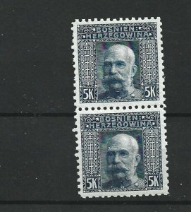 BOSNIA  & HERZEGOVINA 1906  5KR   PAIR  P 9 1/2   MNH