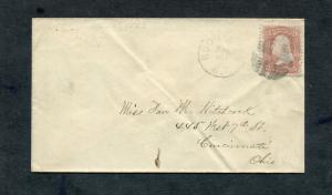 Postal History - Rochester NY 1866 Black Segmented Cork Cancel #65 Cover B0275