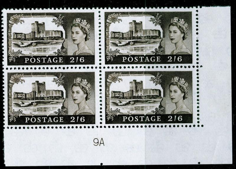 Sg595a, 2s 6d black-brown PLATE 9A, NH MINT. Cat £10. BLOCK OF 4.