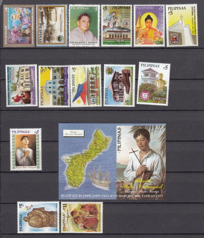Z3038  2002 philippines mnh set, sets of 1 + s/s designs all dif lot