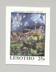 Lesotho #661 Art, El Greco 1v Imperf Proof Mounted on Card