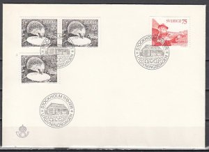 Sweden, Scott cat. 1139-1140. Hedgehog & Musician issue. First day cover. ^