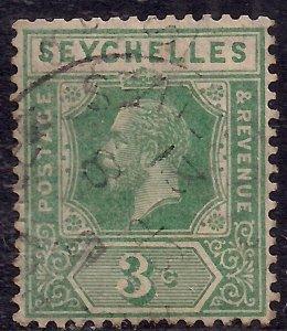 Seychelles 1921 - 32 KGV 3ct Green used SG 99 ( E1126 )