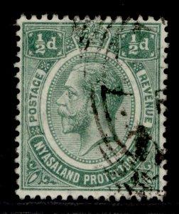 NYASALAND PROTECTORATE GV SG83, ½d green, FINE USED. WMK MULT CA