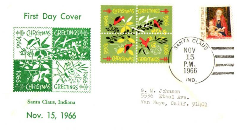 1966 Christmas Seal First Day Cover - Santa Claus, Indiana