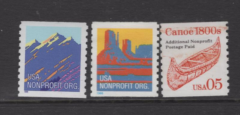 US 1995-7 Nonprofit Stamp Scott 2902B & 2904B 3 Stamps MNH