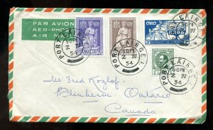 p87 - IRELAND Port Láirge 1954 Airmail Cover to CANADA. Four Values