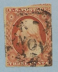 10A Used, 3c. Washington, PSE Cert, Orange Brown, scv: $150