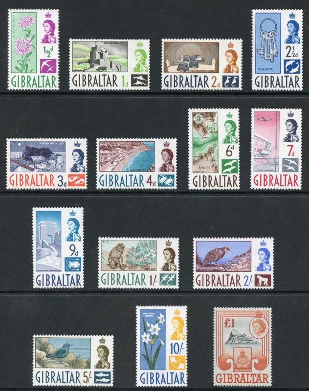 Gibraltar SG160/73 Set Fresh 10/- and one pound U/M others M/M
