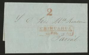 J) 1853 MEXICO, PRESTAMP, RED BOX, COMPLETE LETTER, INTERIOR MAIL WITHIN CHIHUAH