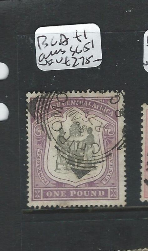 BRITISH CENTRAL AFRICA (P2711B) L1 ARMS CHIROMO SQ CIRCLE VFU  SCARCE