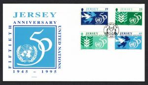 Jersey 50th Anniversary of United Nations FDC SG#723-726