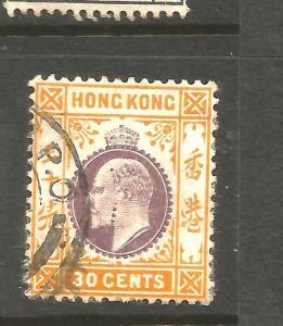 HONG KONG  1907-11  30c  KEVII   FU  SG 97