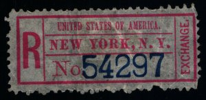 Scott #FX-NY1a(ii) - VF - Registry Exchange Labels - 1883-1911