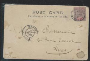 SIERRA LEONE (P0404B) 1901 PPC QV 1D TO FRANCE