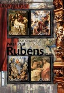Uganda - Peter Paul Rubens Anniversary - 4 Stamp  Sheet - 21D-027