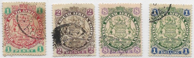 Rhodesia - BSAC- 1896 - ARMS, Die 1 - Dot at Tail - USED- 1d, 2d, 8d, 1s