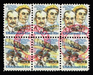 US STAMP AIR #C91-92 – 1978 31c Wright Bro Se-tens USED BLK OF 6