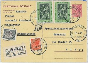 37725   REPUBBLICA: Storia Postale - INTERO POSTALE Raccomandata SIRACUSANA 1975