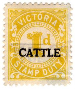(I.B) Australia - Victoria Revenue : Cattle Duty 1d (small format)