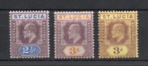 Saint Lucia - SG# 68a, 70 & 71 MH / wmk multi crown CA  /  Lot 1118242