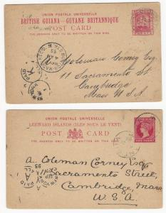 British Guiana, 2  Early Postal Cards, Used in 1895-1896