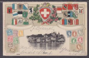 Switzerland Sc 73 on 1905 Stamp Facsimile PPC to Leipzig w/ View of Nyon