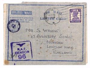 INDIA Cover WW2 Superb Violet *RAF CENSOR 96* Air Letter Isaiban {samwells}BE110