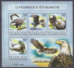 2015 Central African Republic 5585-5588KL Birds of prey 14,00 €