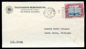 U.S. Scott 11 on 1930 Los Angeles Yale Radio Electric Company Ad Cover